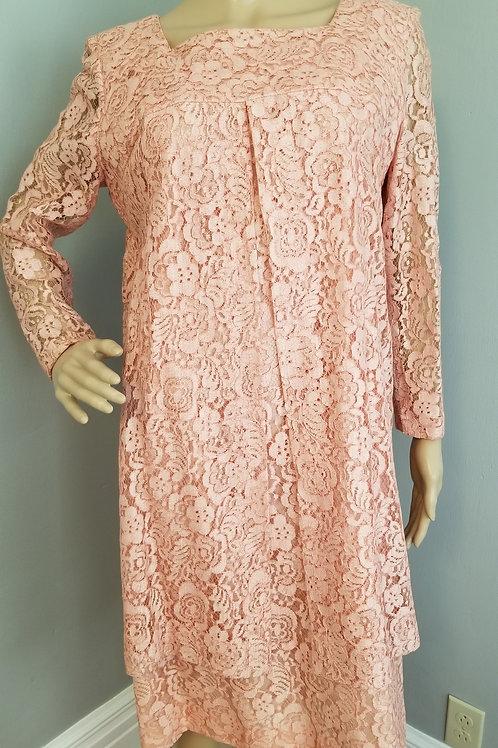 60's Pink Lace Sheath Dress - M/L