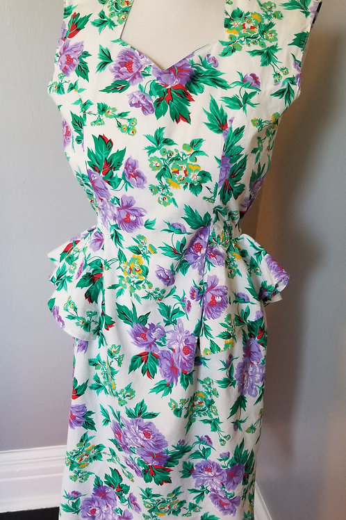 80s Cotton Peplum Floral Dress - M