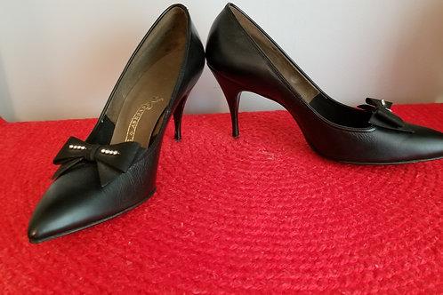 50's Black Leather Stilettos NOS - 9A