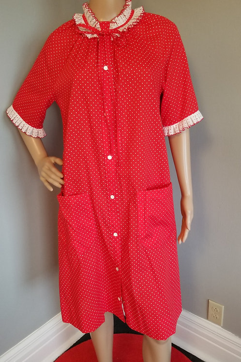 60's Models Coat in Sweet Red & White Polka-dots - L