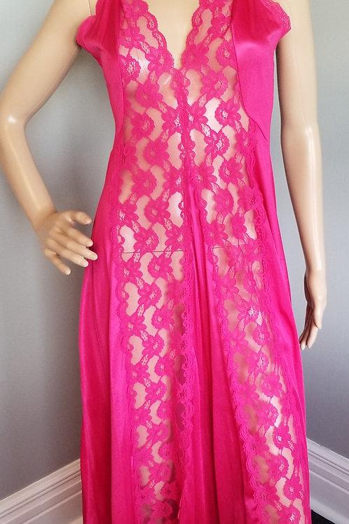 70's Val Mode Deep Raspberry Nylon Nightgown - M