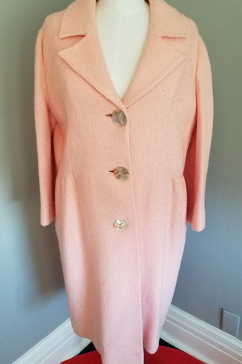 80s Pink Boucle Unbranded  Lightweight Coat - L