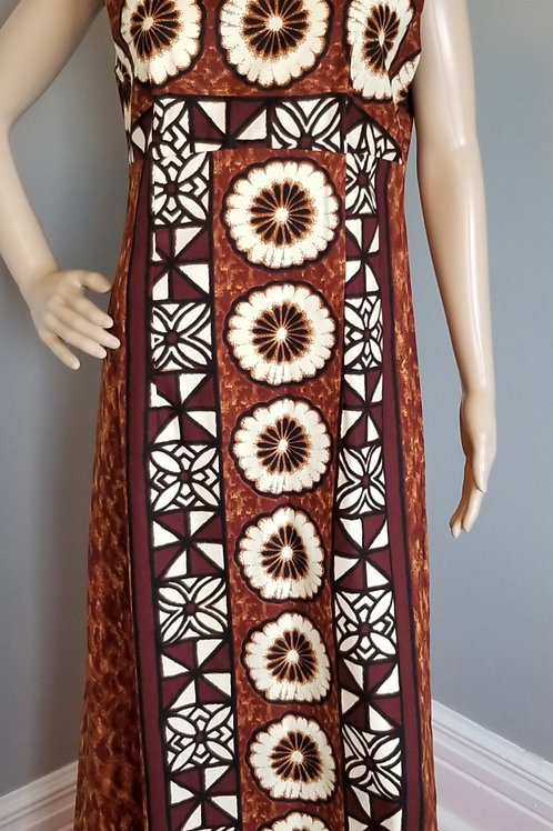 70's Ui-Maikai Hawaiian Dress in Browns & Cream - M/L
