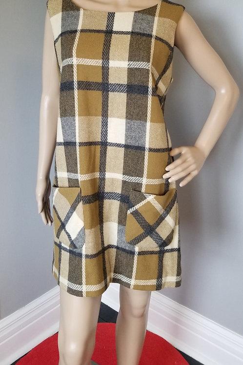 60's Mod Plaid Wool Jumper - L