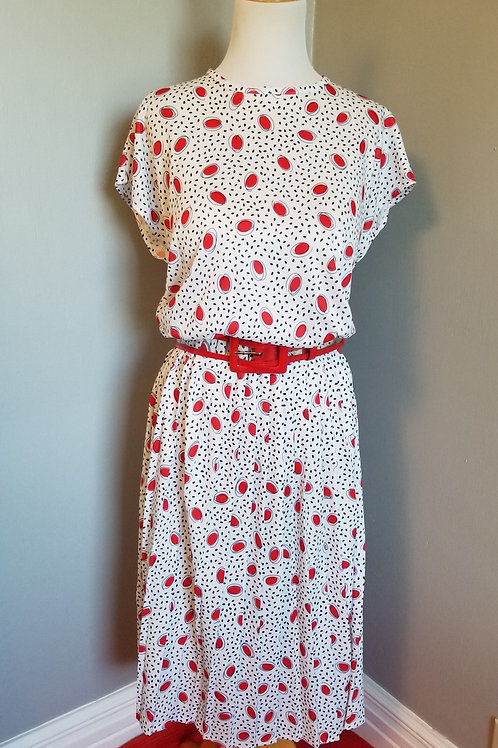 80's does 50s Atomic Dots Dress - L