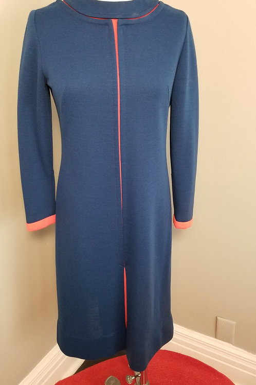 60s Royal Blue Double Knit Dress with Tomato Red Detail - M
