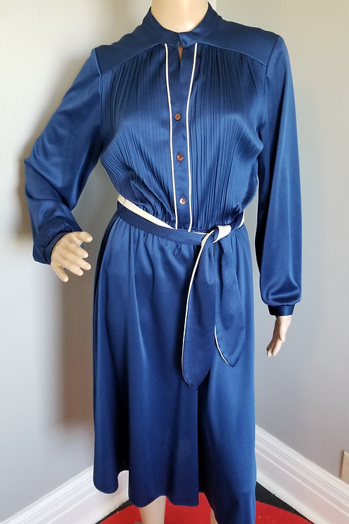 70's SANS AGE Navy Blue Secretary Dress - M
