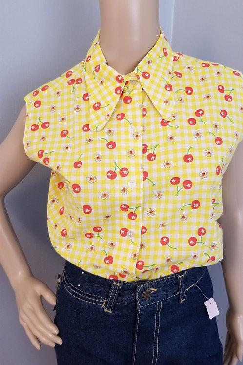 80's Yellow & White Checker with Cherries Sleeveless top - M/L 38