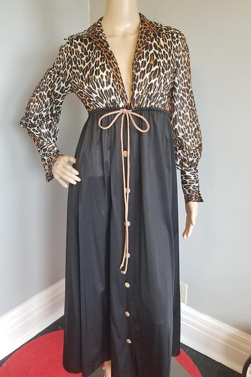 70's Vanity Fair Leopard Print Robe - M