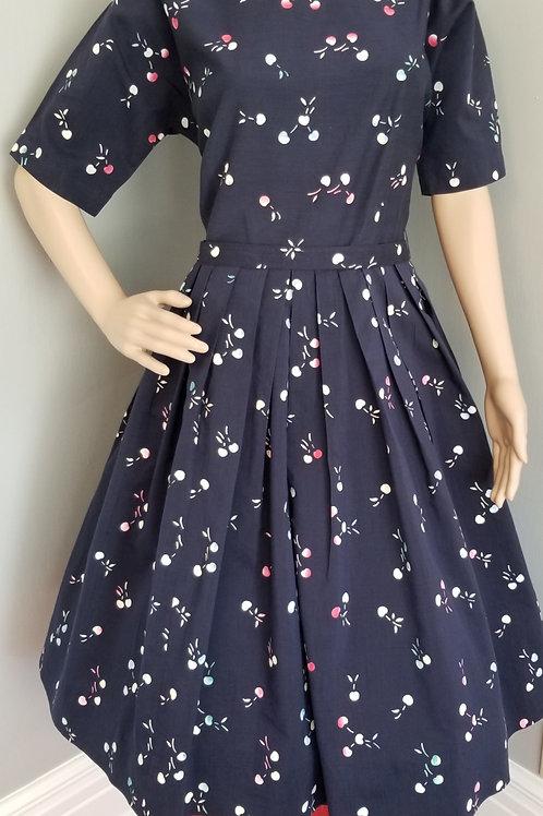 50s Navy Blue Hand Printed Cherries Dress - M