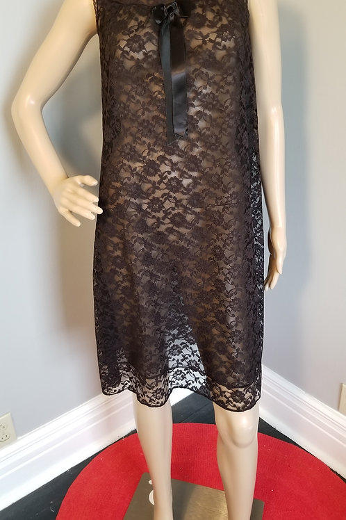 70's Black Lace over Nylon Short Nighty - L