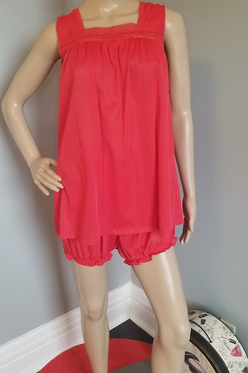 70's Lorraine Babydoll with Bottoms in Hot Red - M