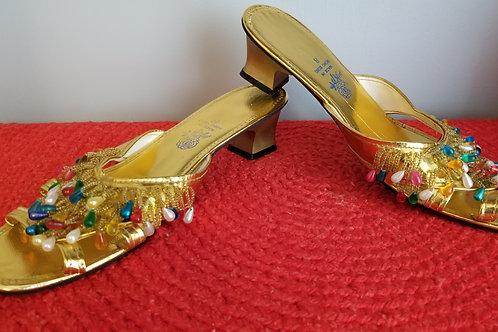 70s Gold Beaded Sandal - 8M