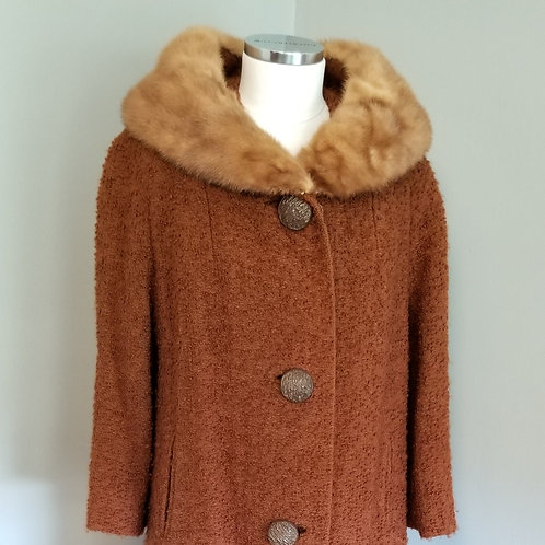 60s Ginger Boucle Coat and Mink Collar Coat - L