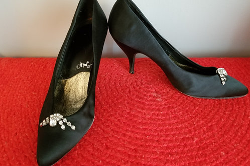 80's Dancin' Shoes Black Satin with Rhinestone Toe Clips new old stock.