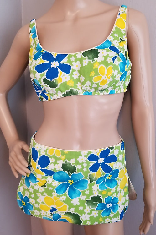 70's Atkins Bikini Blue, Green and Yellow Floral - M