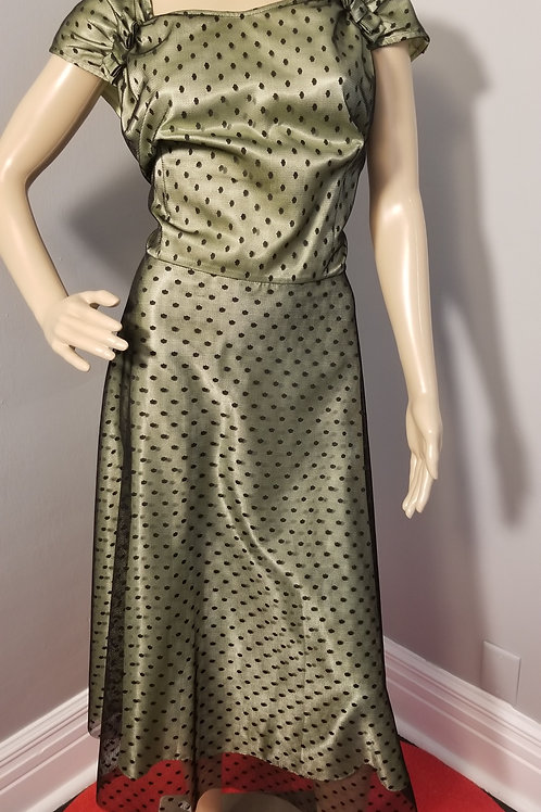 Vintage Inspired  Fit-n-Flare Chartreuse w/ a Black Polka Overlay - XL