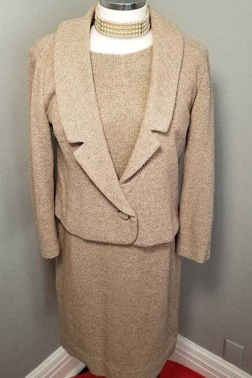 50s Wool Jacket and Sheath Dress Set - M