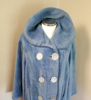60s Blue Faux Fur Coat with HUGE Buttons - XL