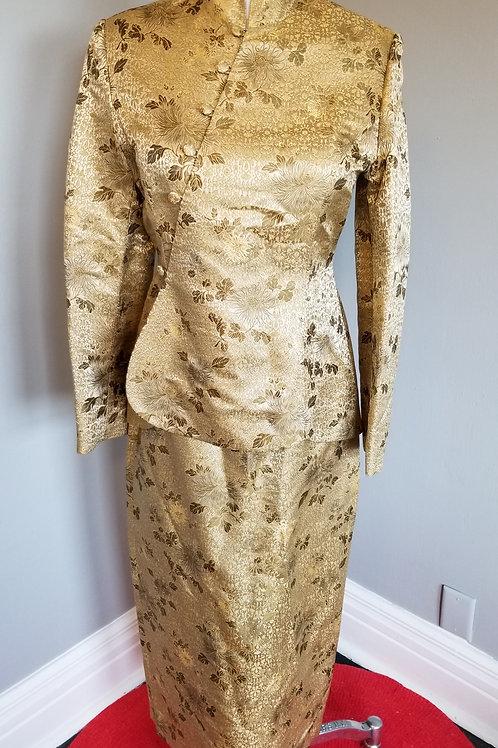 80s J. Peterman Cheongsam Long Suit Dress - S