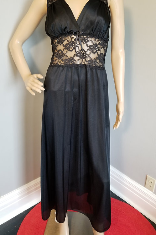 70's Adonna Black Column Gown with Lace Torso - M