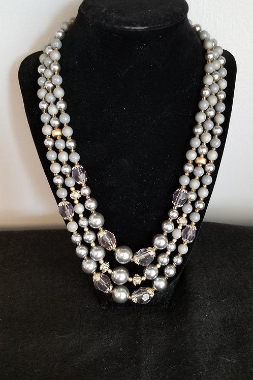 50's Silvery Gray Three Strand Graduated Necklace