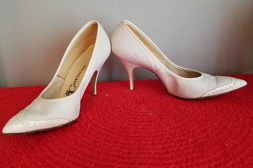 50s Coronet Spectator Stilettos in White Leather - 6.5 / 7N