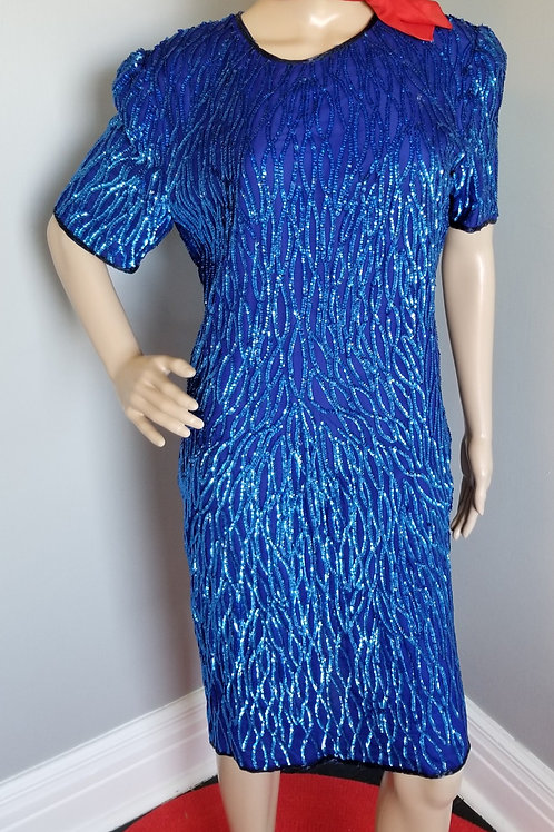 80's Carina Royal Blue Sequined Dress - M