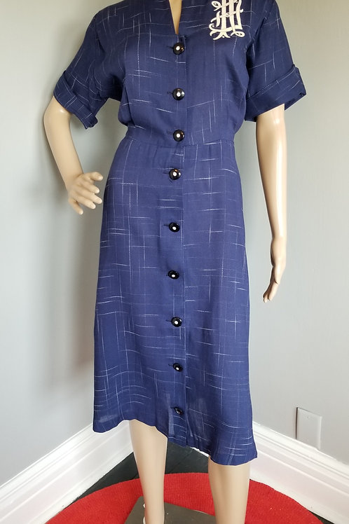 40s  Navy/White Linen Dress with Felted Monogram - L