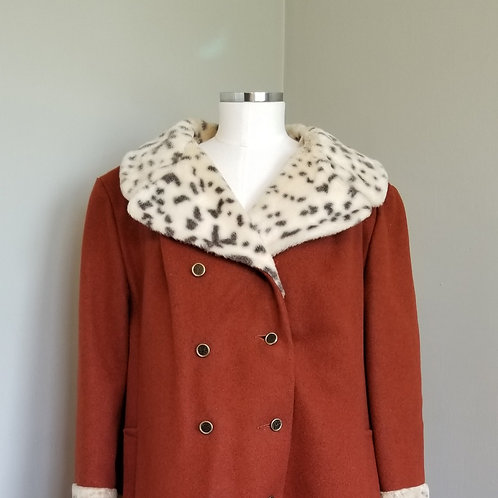 70s Burnt Orange Wool Coat with Snow Leopard Faux Trim - XL