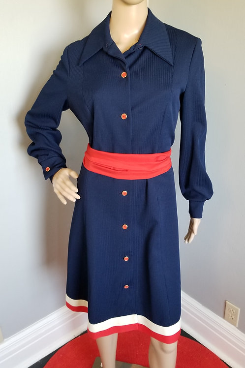 70's Verona Knits Navy A-Line Dress with red buttons and red & white trim - XL