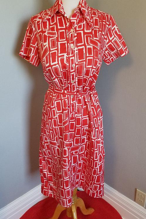 70's Ship'n Shore Shirtwaist Dress - M