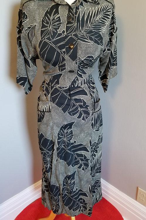 80's does 40's, Sally Lou Wiggle Shirt-Waist Dress - M