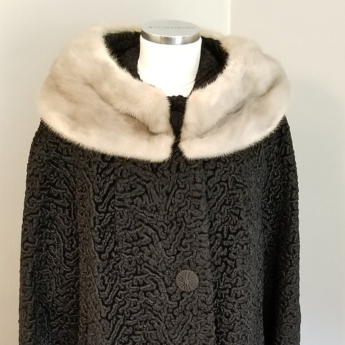 60s Faux Black Curly Lamb with Silver Mink Collar - XL
