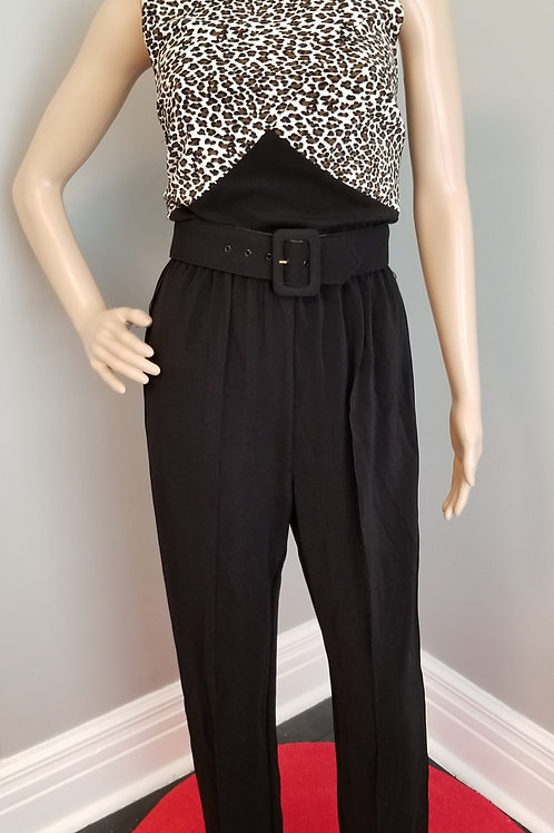 80's Leopard Print Sleeveless Mock Neck Jumpsuit