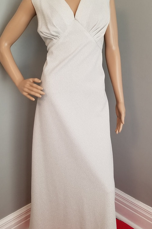 70's Maxi Dress in Silver and White - XL