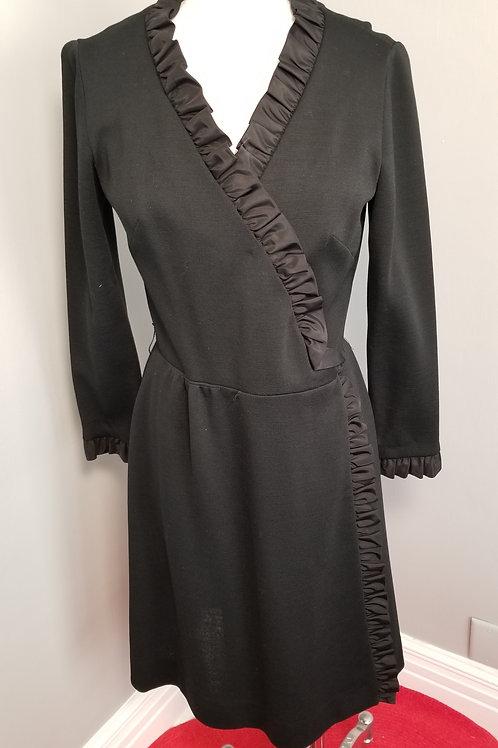 60s R&K Knit Black Wrap Dress with Ruffle Trim - M