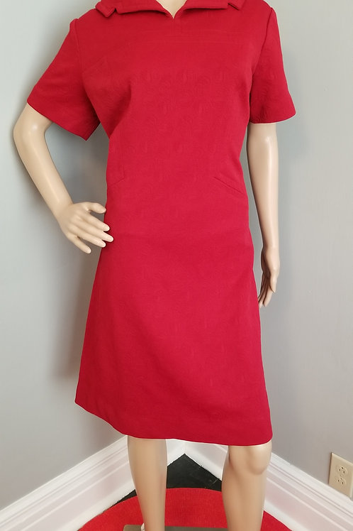 60's Classic Dark Red Polyester Day Dress - L