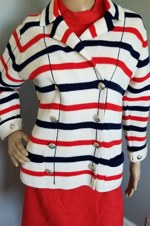 60s/70s Red, White & Blue Double Breasted Cardigan - XL
