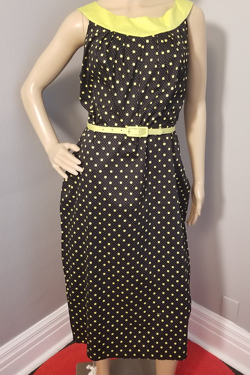 Vintage Inspired Bettie Page Wiggle Dress in black w/ chartreuse Polka-Dots - 3X