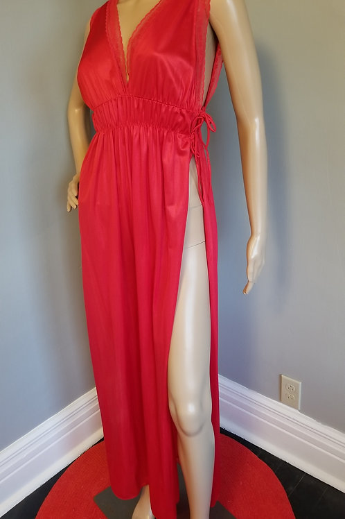 70's Red Hot Column Nightgown - S to L