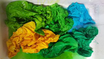 hand dyed fabric blues_yellows_greens