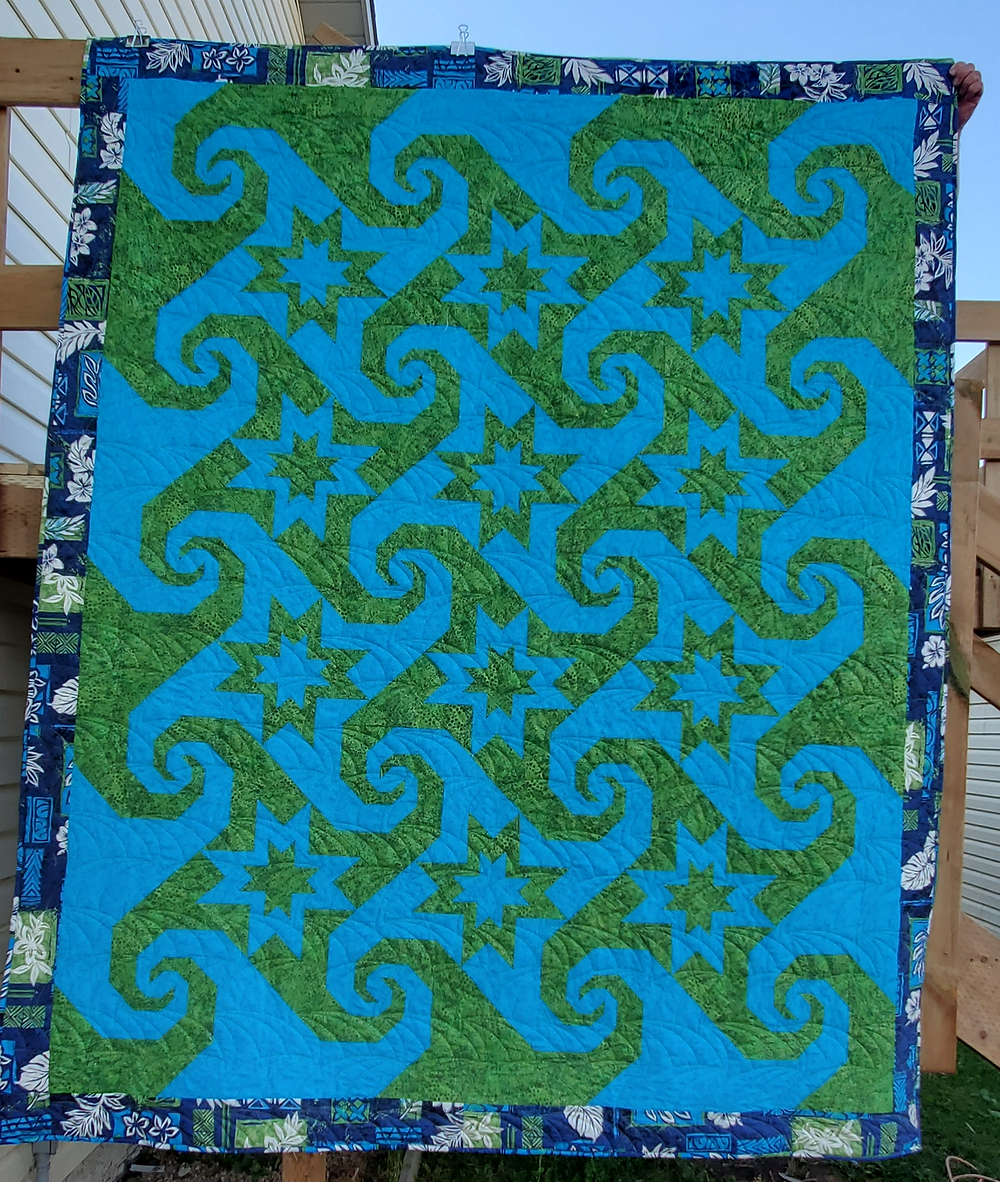 Twin size quilt designed and stitched by Allison Spence, Meadow Rose Quilting