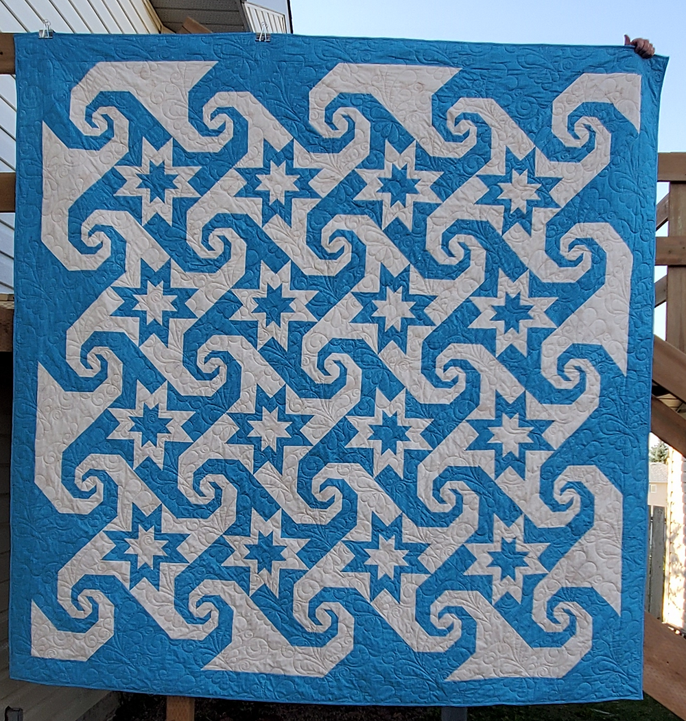 Queen size quilt designed and stitched by Allison Spence, Meadow Rose Quilting