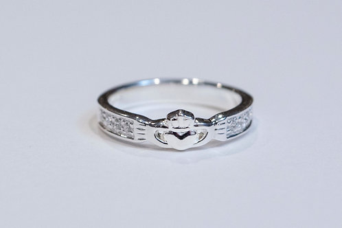 Silver Claddagh Ring with Inset Cubic Zirconias