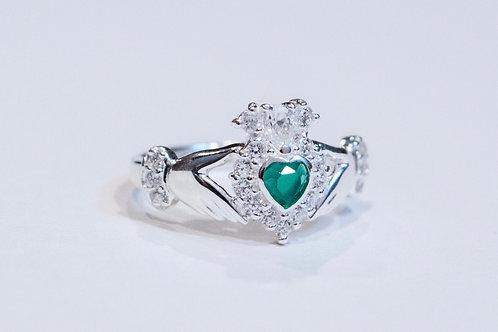 Ladies Silver Stone Set Claddagh Ring