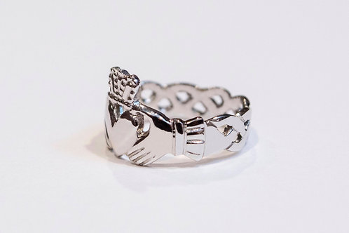 Ladies Silver Heavyweight Claddagh Ring with Celtic Weave Band