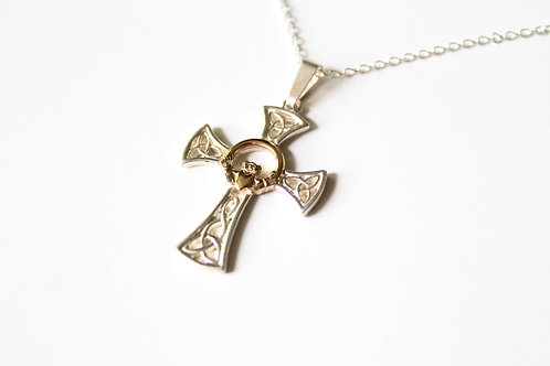 Trinity Knot Claddagh Cross Necklace