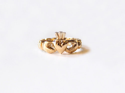 Gold Claddagh Mo Chroi Ring with Pierced Band