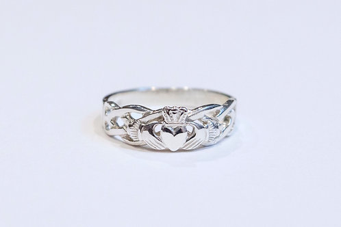 Gent's Silver Claddagh Celtic Weave Ring